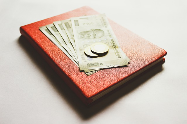 indické rupie na červeném notesu.jpg