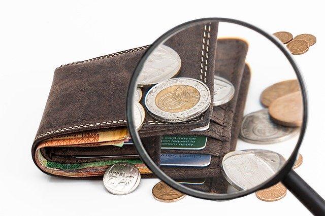 peníze pod lupou, peněženka
